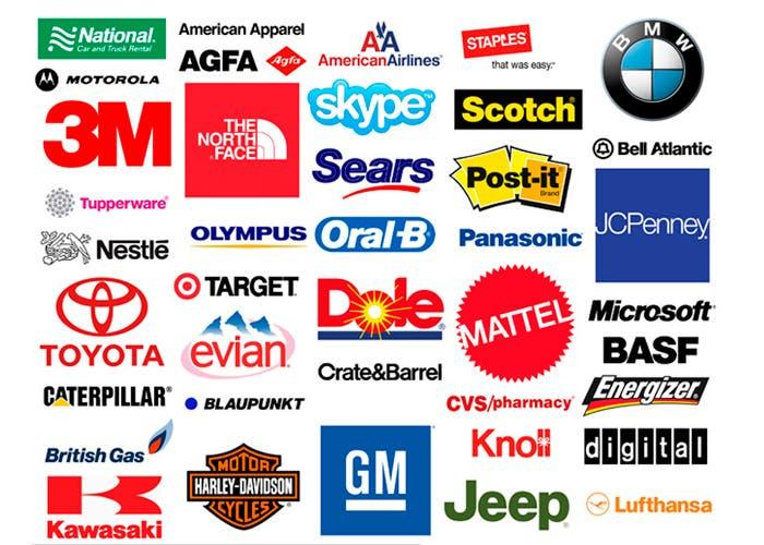 Logotipos varios que usan la tipografía Helvetica