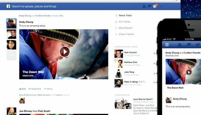 Imagen de la nueva interfaz de Facebook