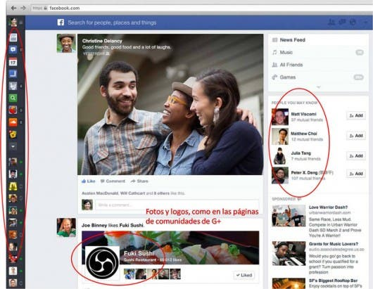 Comparación nueva interfaz Facebook con Google+