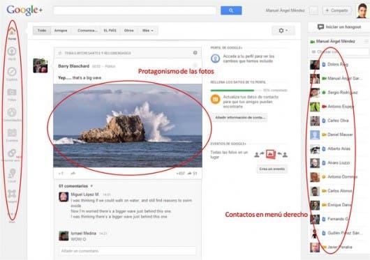 Comparación interfaz Google+ con la nueva interfaz de Facebook