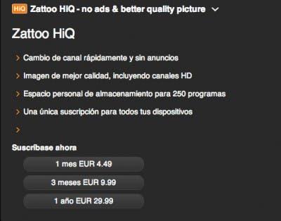 La versión de pago de Zattoo