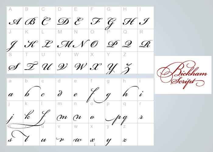 Abecedario en mayuscula y minuscula de brickhan script
