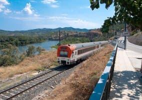 Tren a su paso por Ascó en Cataluña