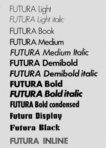 Diversas variaciones de la tipografía futura
