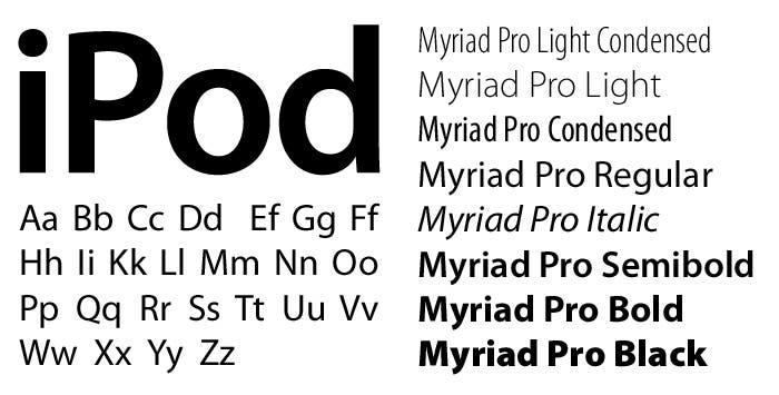 Variaciones tipografía Myriad y muestra de uso en iPod