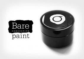Logotipo Bare conductive y un bote de pintura conductora de electricidad