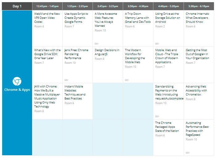 Calendario del primer día del Google I/O en el sector Chrome
