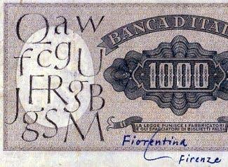 Boceto en un billete de la tipografía optima