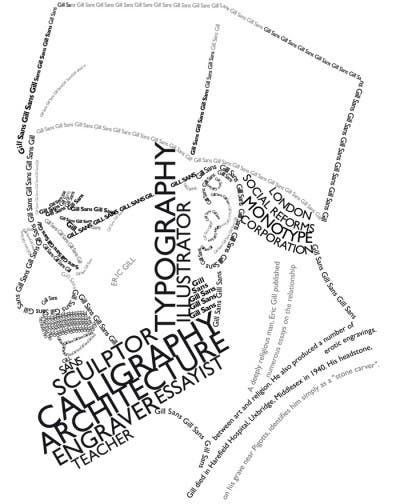 Caricatura a base de letras de Eric Gill