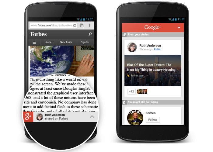 Banner recomendador de contenido de Google+