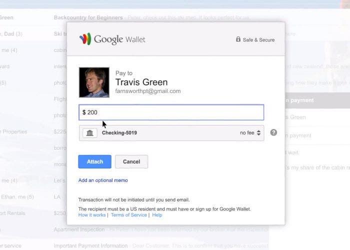 Google Wallet enviando un pago por email