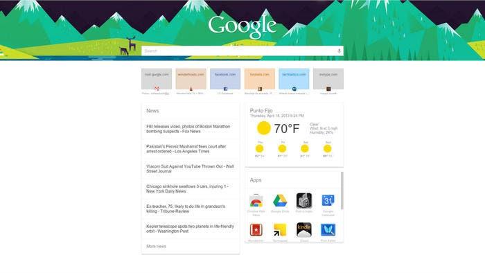 Posible interfaz de Google Now en Chrome