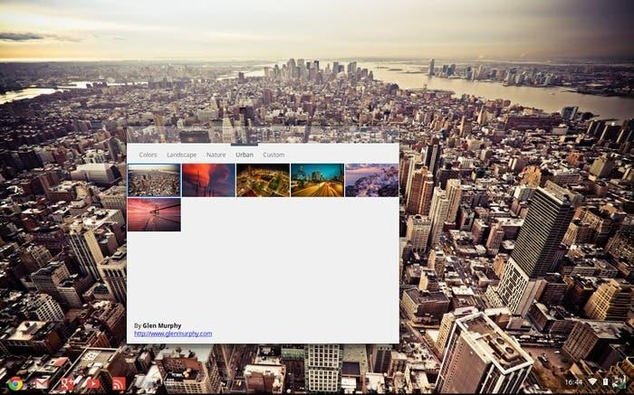 Selección de fondo de pantalla en Chrome OS