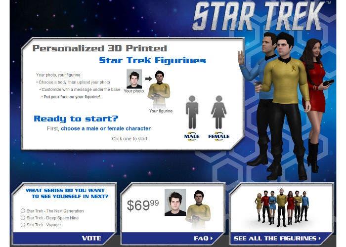 Figura 3D personalizada de Cubify basada en Star Trek