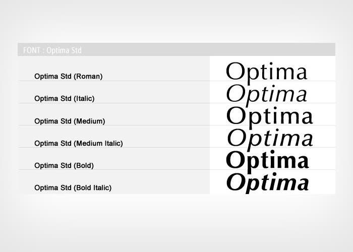 Diferentes tipos y variaciones de la tipografía Optima