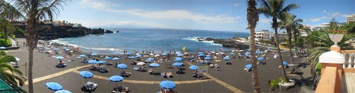 Panorámica de playa de la Arena en Tenerife