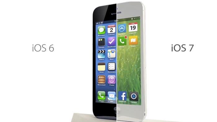 Concepto de iOS 7 vs iOS 6