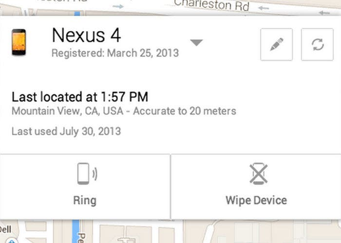 Captura de Android Device Manager