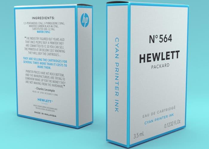 Tinta de impresona HP imitando el perfume Chanel Nº5