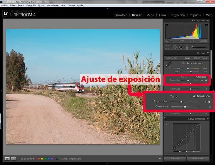 Captura de pantalla de Lightroom ajustando exposición