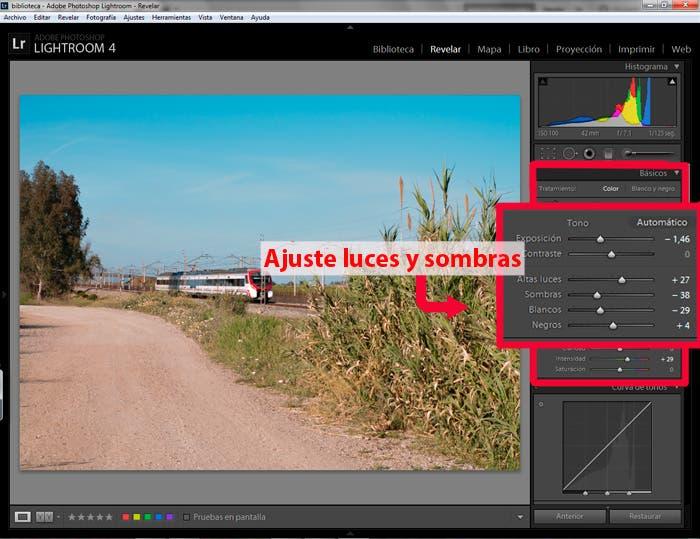 captura de pantalla de lightroom ajustando luces y sombras