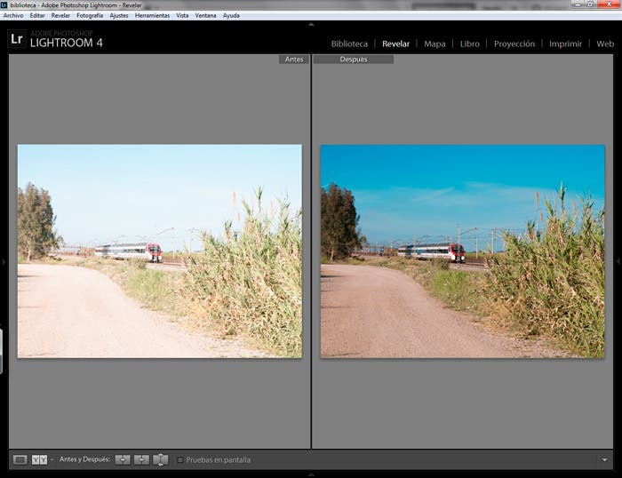 captura de pantalla de Lightroom con el antes y después