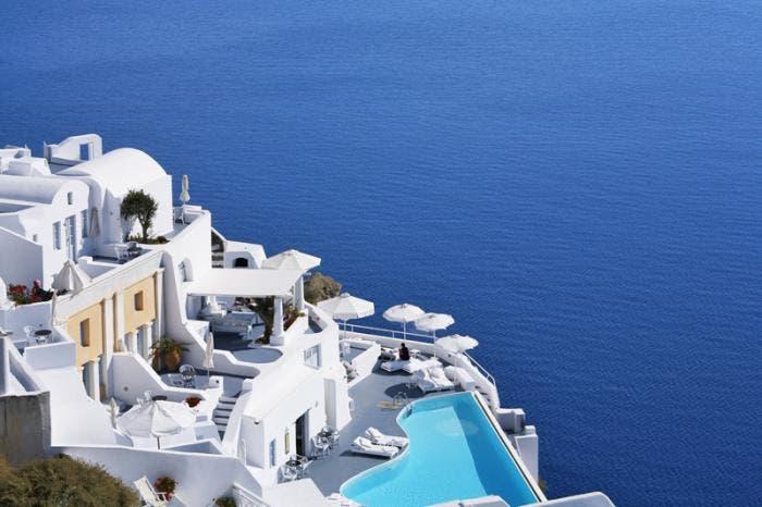 Vistas del hotel en la isla de Santorini