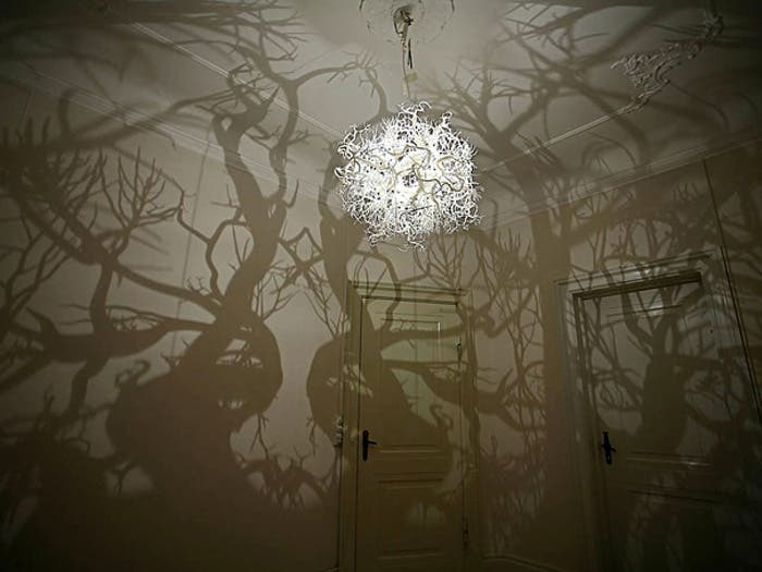 Lampara con luz en aspecto de bosque