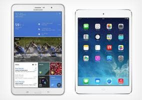 Samsung Galaxy Tab Pro8.4 e iPad mini con pantalla Retina