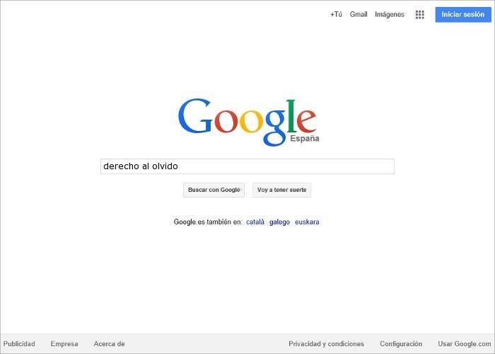 Captura buscador Google derecho al olvido