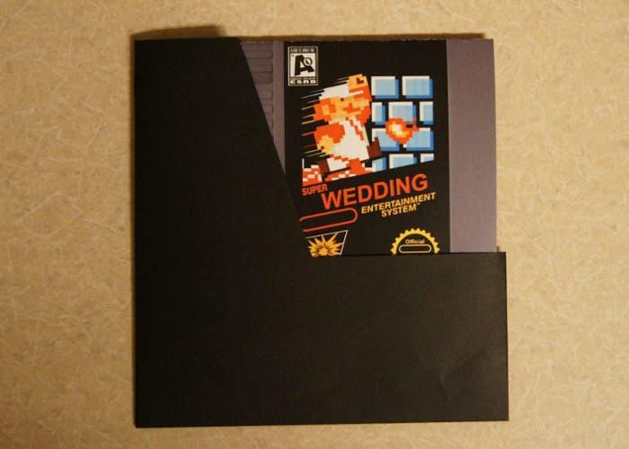 Invitacion de boda inspirada en un cartucho de NES