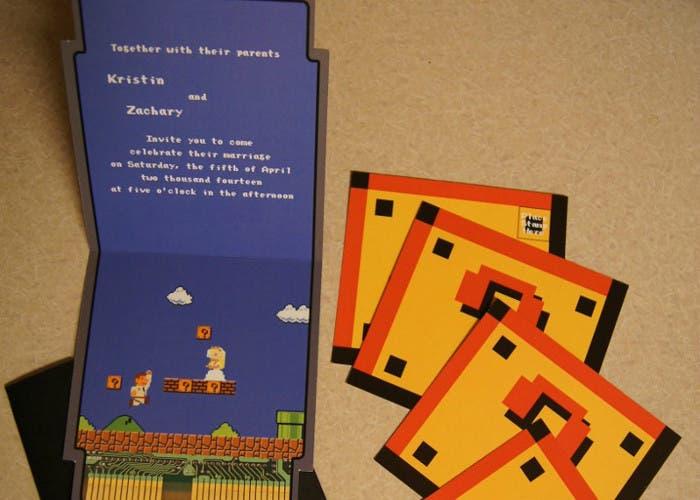 Invitación de boda inspirada por Mario Bros.