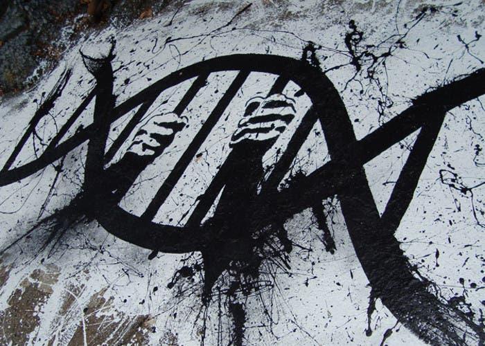 Pintada callejera con forma de ADN