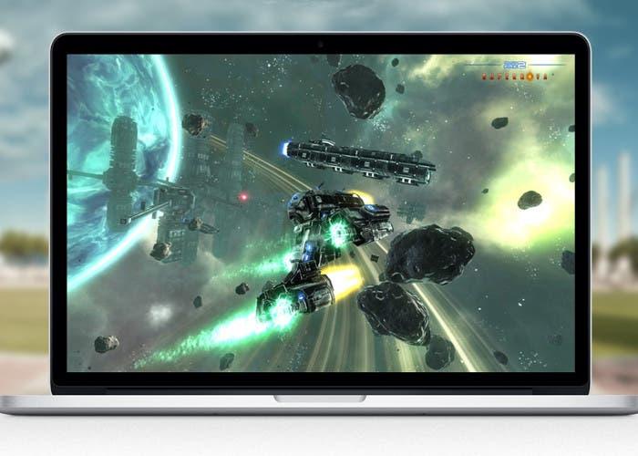 MacBook ejecutando un juego