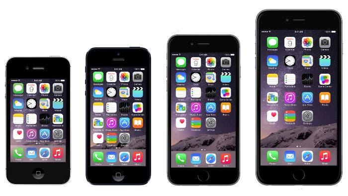 Evolución del tamaño de pantalla de los iPhone