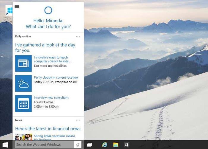 El asistente de voz Cortana para Windows 10
