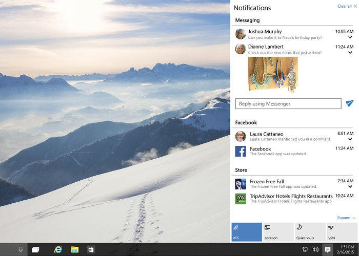 Menú de notificaciones en Windows 10