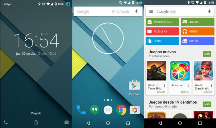 Capturas de Android 5.0 Lollipop