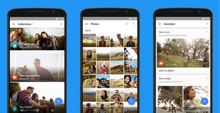 Capturas de pantalla de la app de Google Fotos para Android