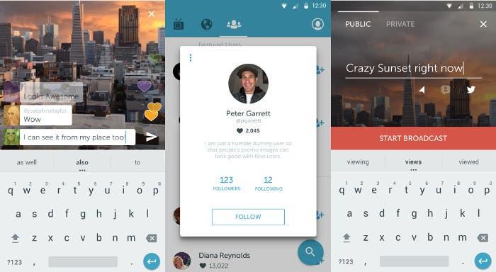 Capturas de pantalla de la app Periscope