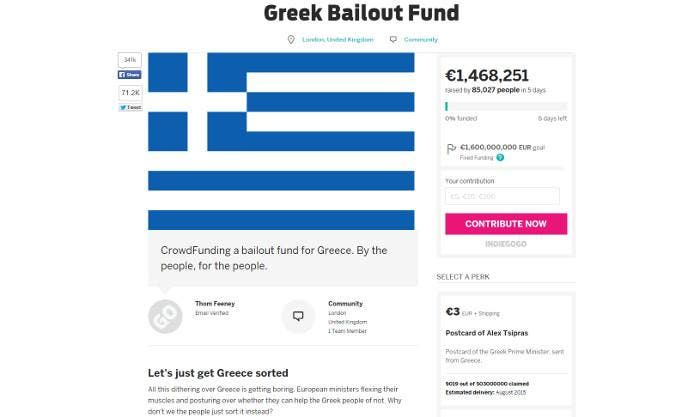 Indiegogo para salvar a Grecia