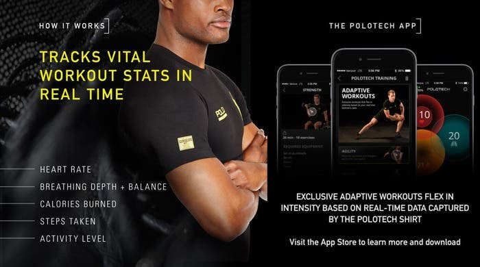 Imagen de la camiseta inteligente de Polo Ralph Lauren y la app asociada a ésta