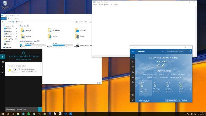 Distintas interfaces de Windows 10