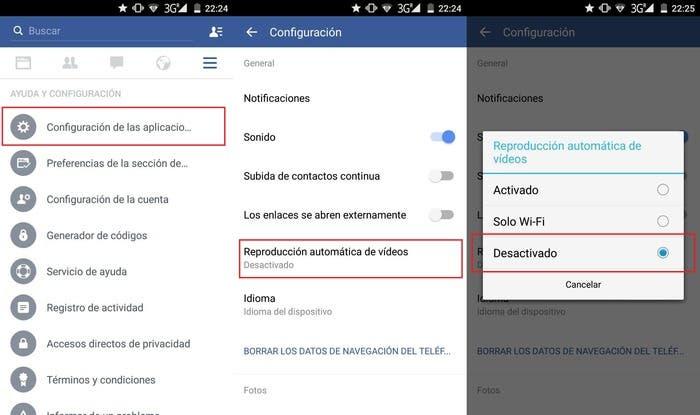 Desactivar vídeos Facebook movil