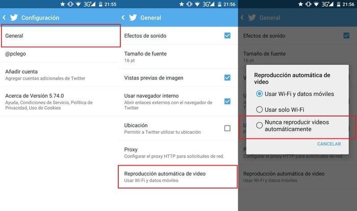 Desactivar vídeos Twitter móvil
