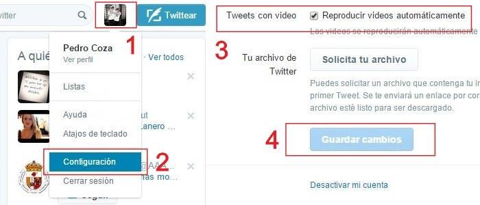 Desactivar videos Twitter