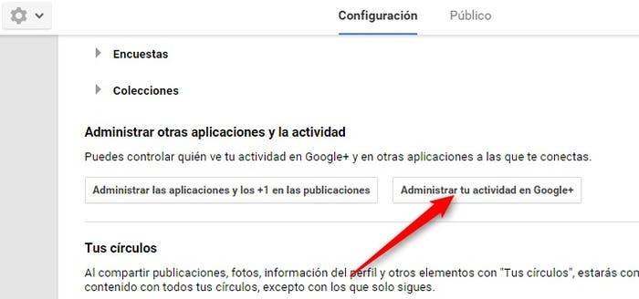 Administrar actividad Google+
