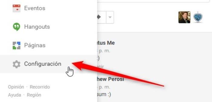 Configuracion Google+