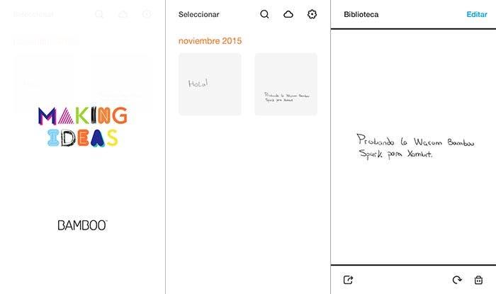 Capturas de pantallas de la app de Bamboo Spark