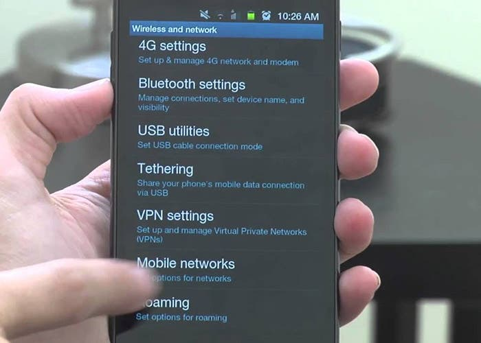 Ajustes roaming móvil
